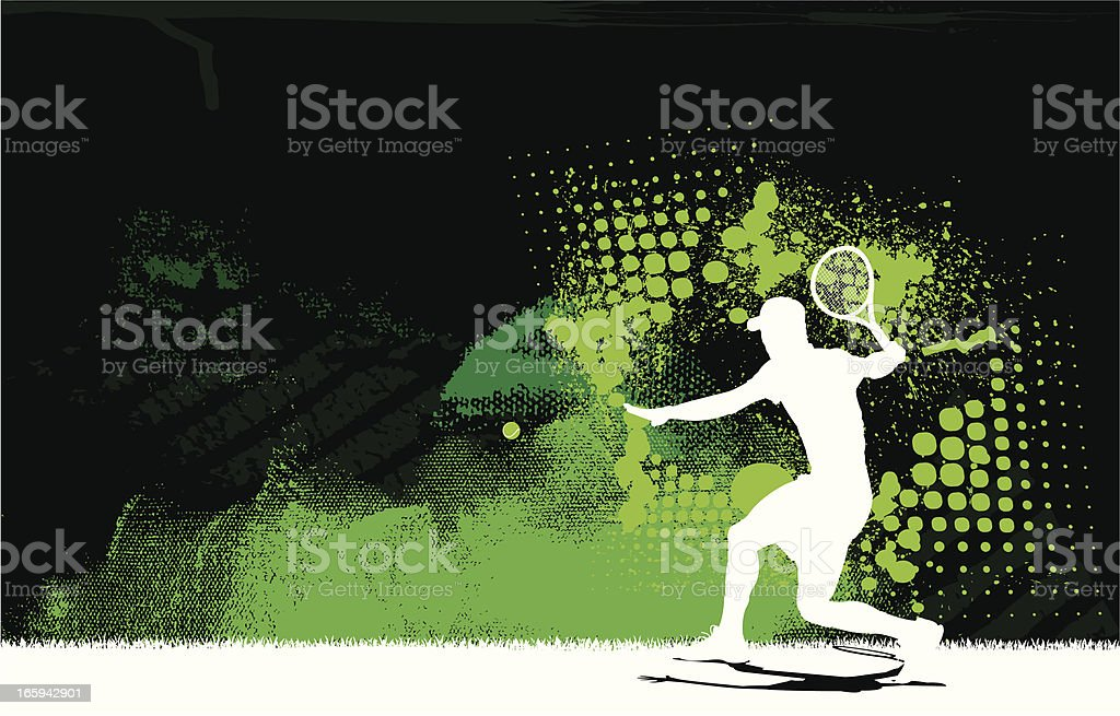 Tennis Player Volley Background - Men vector art illustration