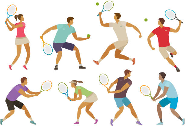 stockillustraties, clipart, cartoons en iconen met tennis speler met een tennisracket. sport concept. grappige cartoon vectorillustratie - tennis