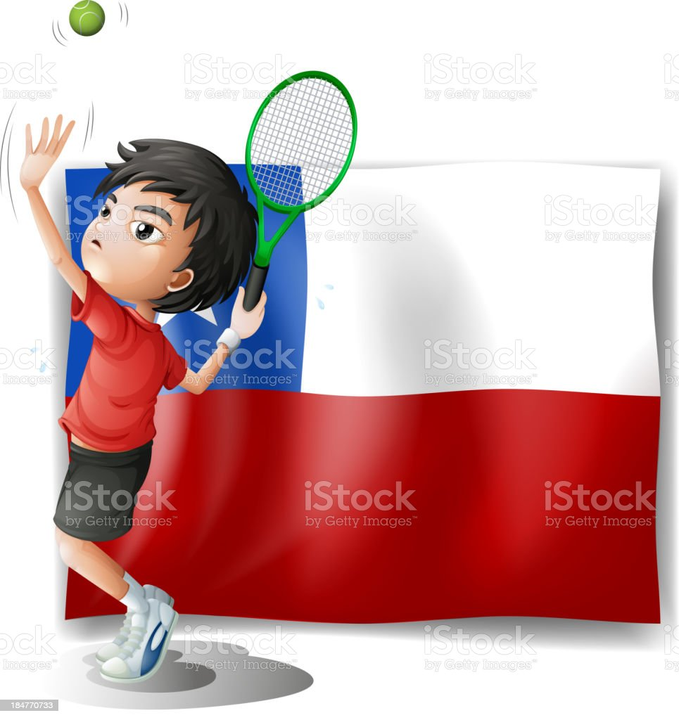 tennis player with the Chile flag royalty-free stock vector art