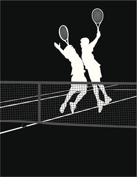 tennis-spieler-brust bump victory - wimbledon stock-grafiken, -clipart, -cartoons und -symbole