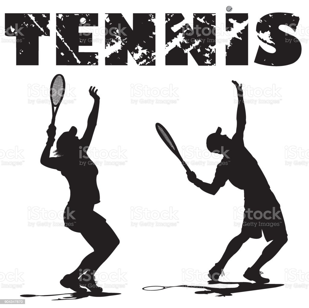 Tennis Players Serving Ball with Typescript vector art illustration