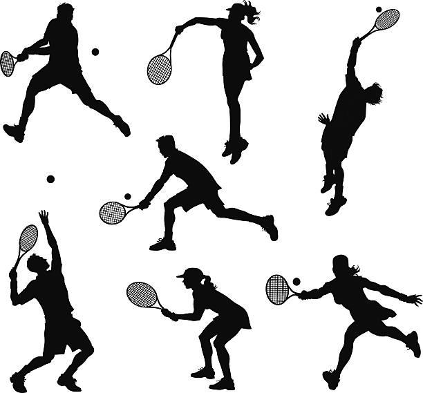 Tennis Players Silhouettes All images are placed on separate layers. They can be removed or altered if you need to. Some gradients were used. No transparencies.  racket stock illustrations
