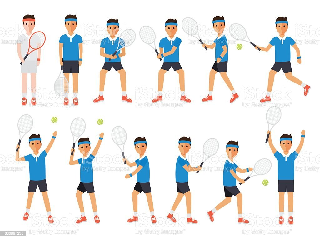 Tennis players, tennis sport athletes in actions vector art illustration