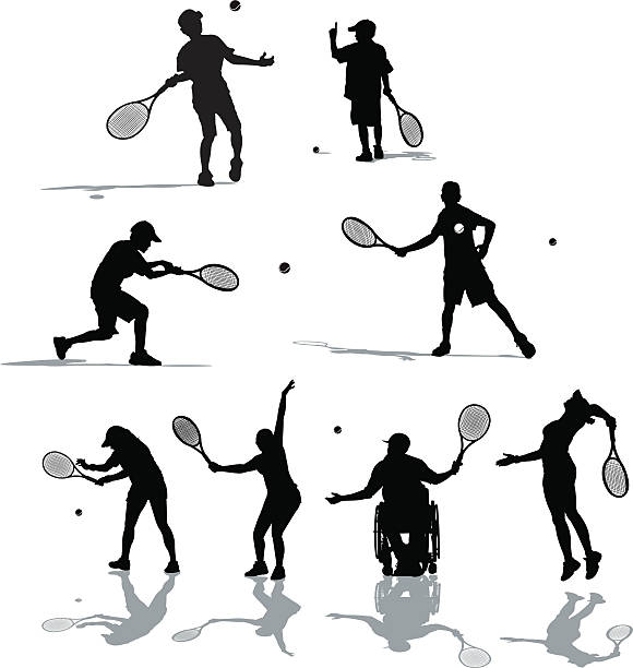 tennis players - wheelchair sports stock illustrations, clip art, cartoons, & icons