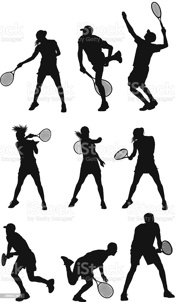 Tennis players vector art illustration
