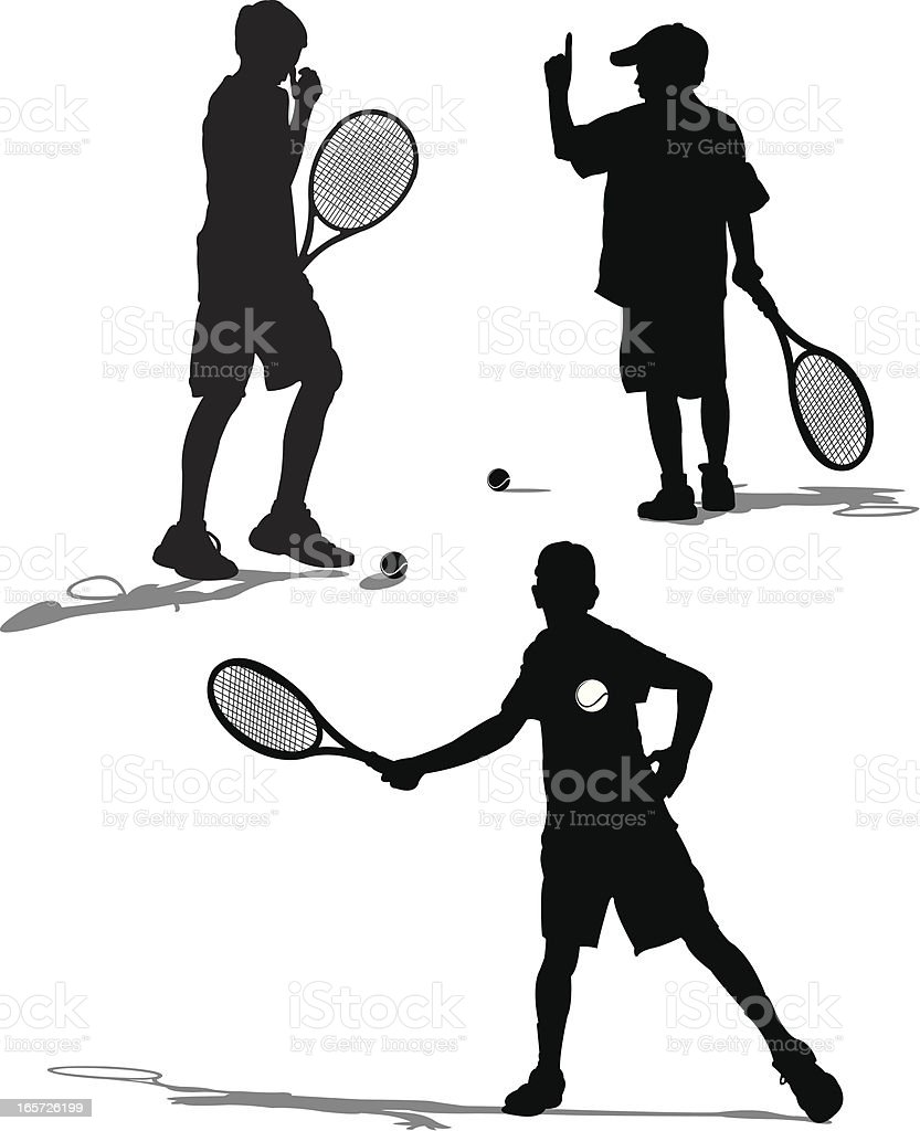 Tennis Players Volleying - Young Male royalty-free stock vector art