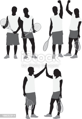istock Tennis players with rackets 166052914