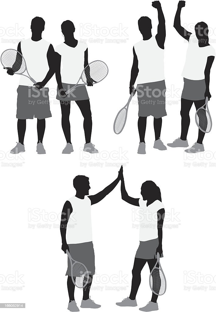 Tennis players with rackets vector art illustration