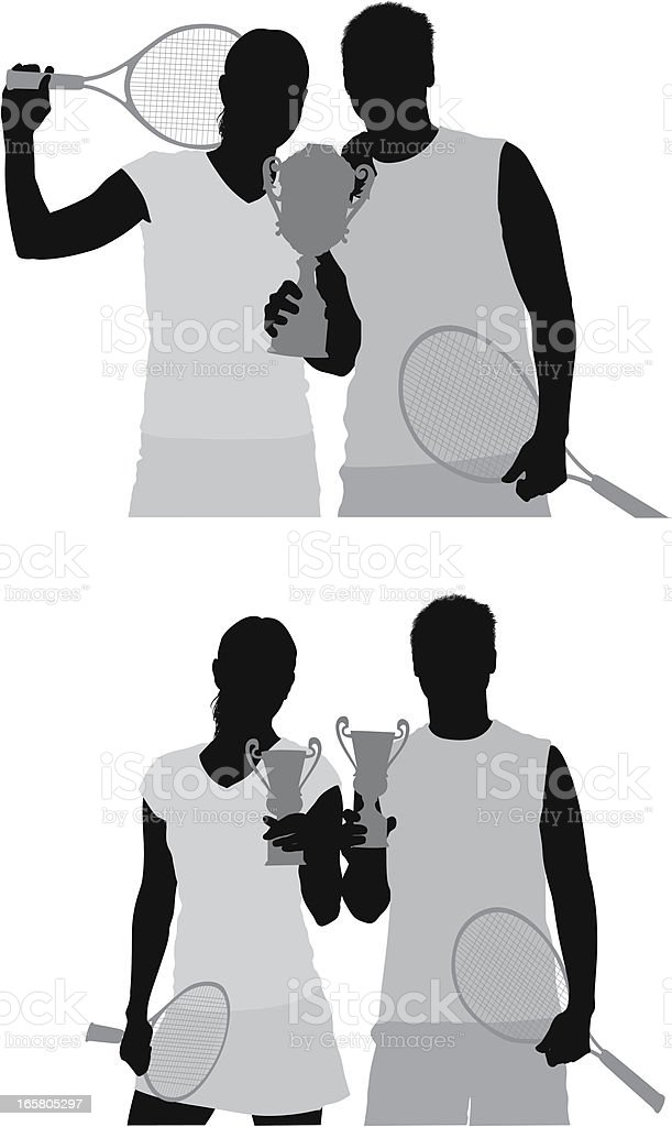 Tennis players with trophy vector art illustration