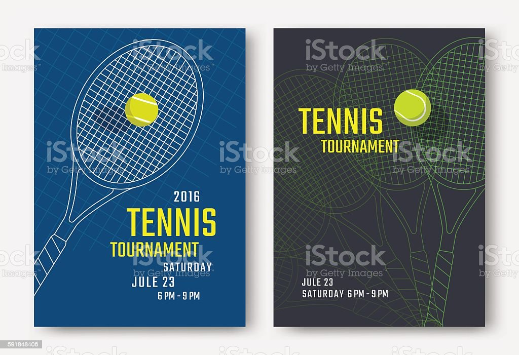 Tennis poster design vector art illustration