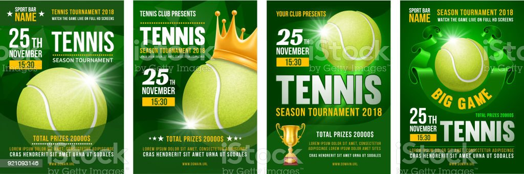 Tennis Poster Set vector art illustration