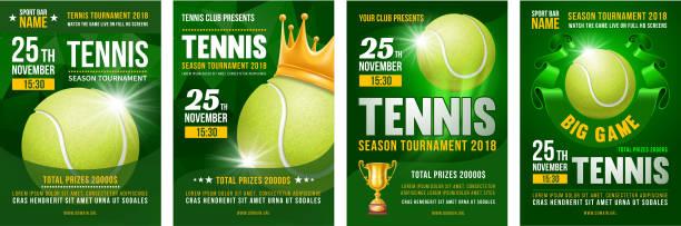 tennis poster set - tennis stock illustrations, clip art, cartoons, & icons