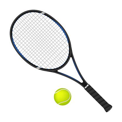 Tennis racket and ball, 3d vector illustration