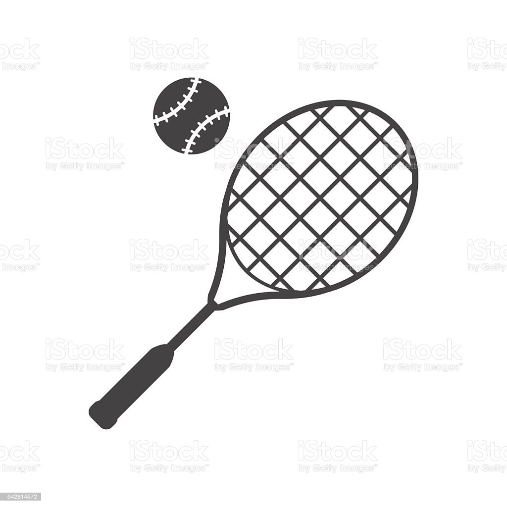 Tennis racket and ball black icon. vector art illustration