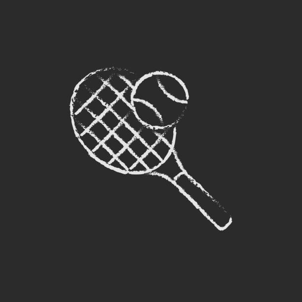 Tennis racket and ball icon drawn in chalk vector art illustration