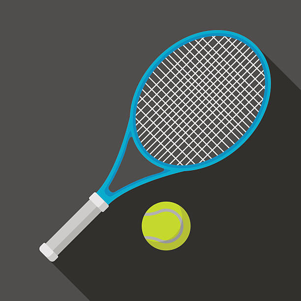 tennis racket and ball icon with long shadow tennis racket and ball icon with long shadow. flat style vector illustration racket stock illustrations