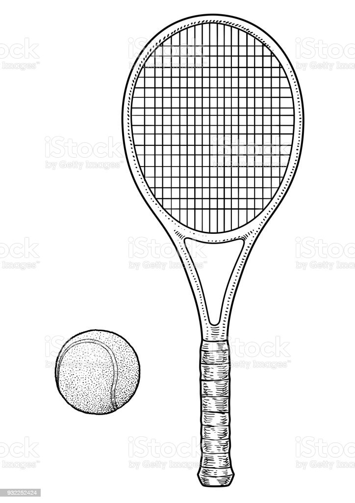 Tennis Racket And Ball Illustration Drawing Engraving Ink Line Art Vector Stock Illustration Download Image Now Istock