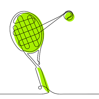 tennis racket and ball in one continuous line. Banner for sports design. Tennis equipment. Active lifestyle. Vector