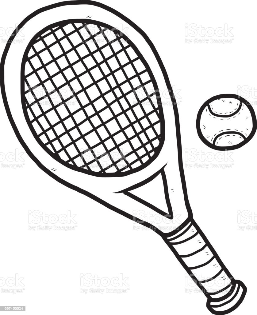 royalty free black and white cartoon tennis racket clip