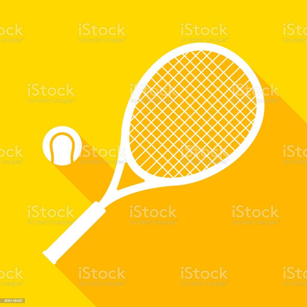 テニス ラケットとボールを長い影 ベクターアートイラスト