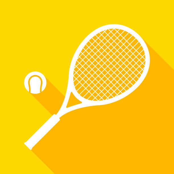 Tennis racket and ball with long shadow Vector element racket stock illustrations