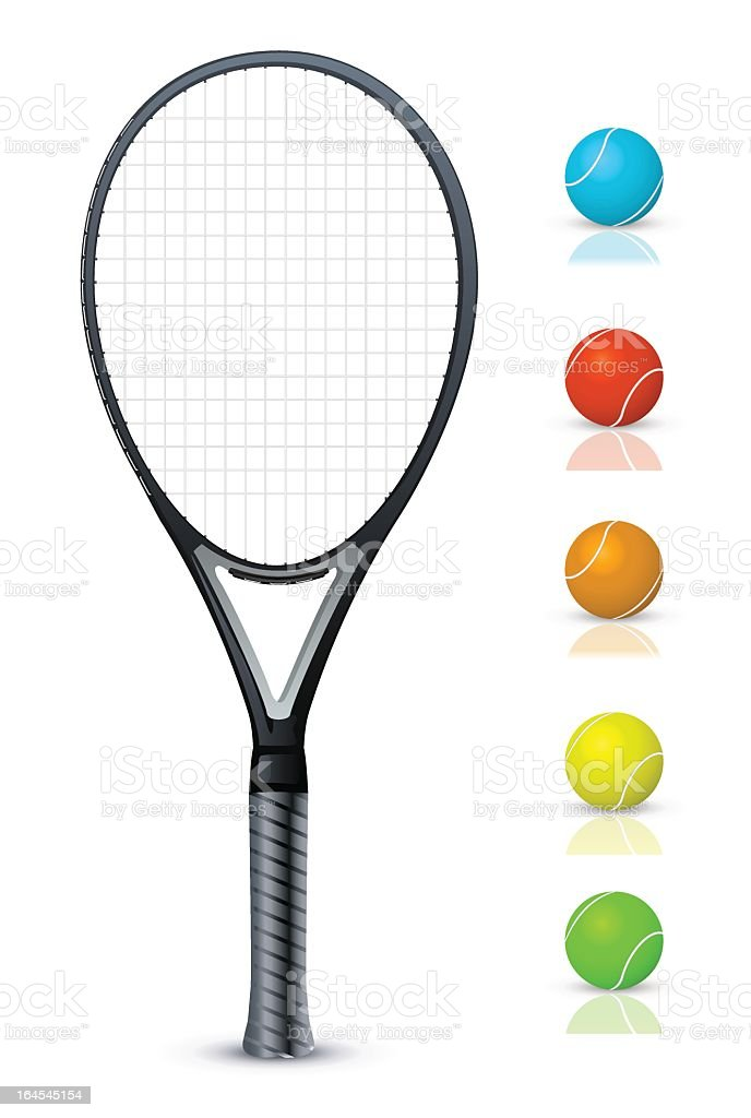 Tennis racket and color balls vector art illustration