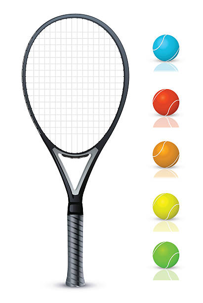 Tennis racket and color balls Vector Detailed Tennis racket and color balls.  racket stock illustrations