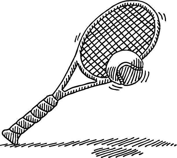 Tennis Racket Ball Drawing Hand-drawn vector drawing of a Tennis Ball in front of a Tennis Racket. Black-and-White sketch on a transparent background (.eps-file). Included files are EPS (v10) and Hi-Res JPG. tennis stock illustrations