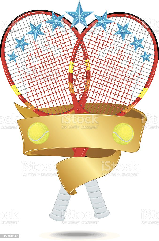 Tennis Racket Banner Star Graphic vector art illustration