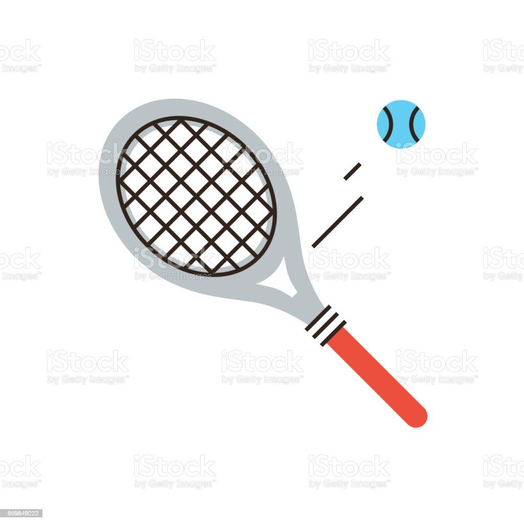 Tennis racket flat line icon concept vector art illustration