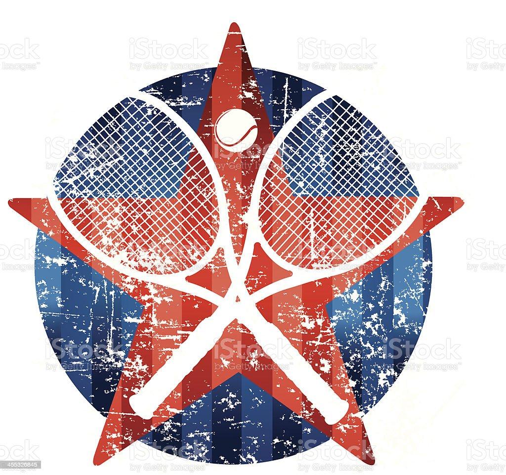 Tennis Racket Grunge Star Graphic vector art illustration