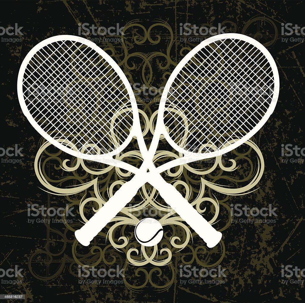 Tennis Racket Grunge Swirl Graphic Background vector art illustration