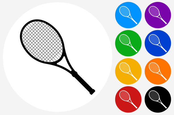 Tennis Racket Icon on Flat Color Circle Buttons Tennis Racket Icon on Flat Color Circle Buttons. This 100% royalty free vector illustration features the main icon pictured in black inside a white circle. The alternative color options in blue, green, yellow, red, purple, indigo, orange and black are on the right of the icon and are arranged in two vertical columns. racket stock illustrations