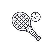 Tennis racket line icon concept. Tennis racket vector linear illustration, symbol, sign