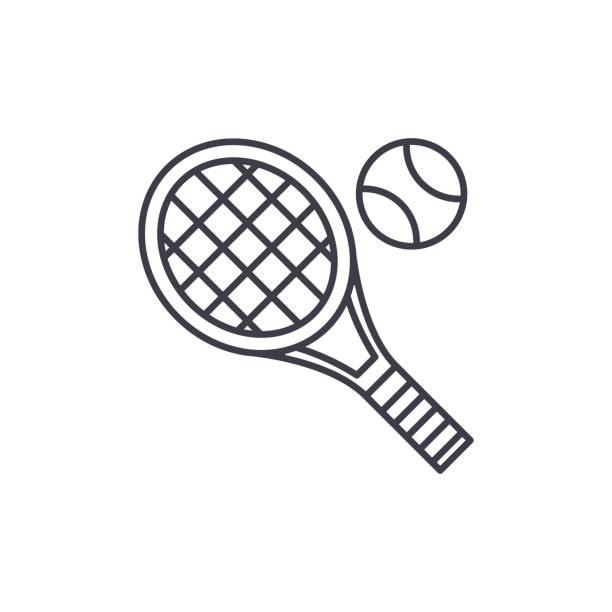 stockillustraties, clipart, cartoons en iconen met tennis racket lijn pictogram concept. tennis racket lineaire vectorillustratie, symbool, teken - tennis