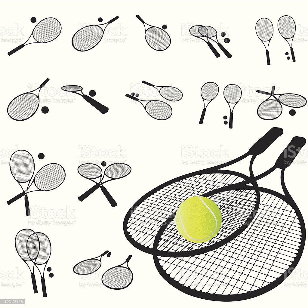 Tennis racket silhouette set royalty-free stock vector art
