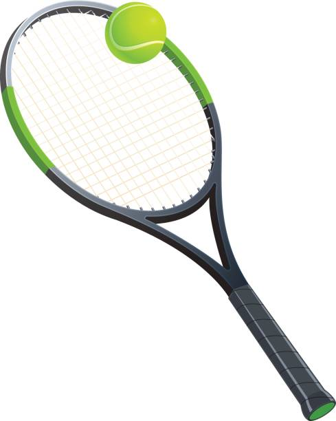 Tennis racket with a ball Tennis racket with a ball. Sports attributes. Vector illustration racket stock illustrations
