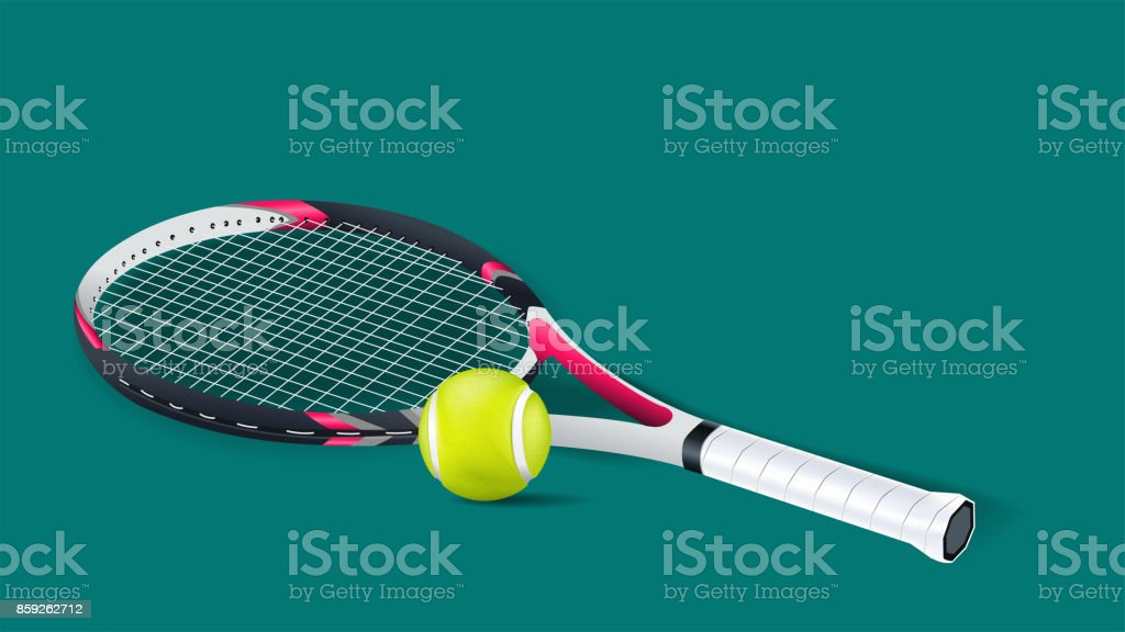 Tennis racket with a tennis ball on a tennis court isolated on green background. vector and illustration. royalty-free tennis racket with a tennis ball on a tennis court isolated on green background vector and illustration stock illustration - download image now