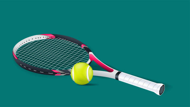 Tennis racket with a tennis ball on a tennis court isolated on green background. vector and illustration. Tennis racket with a tennis ball on a tennis court isolated on green background. vector and illustration. racket stock illustrations
