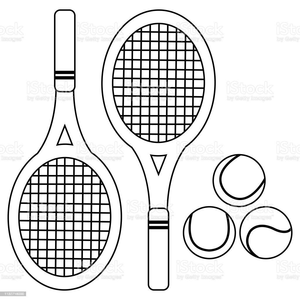 Ilustración De Raquetas De Tenis Y Pelotas Vector Blanco Y Negro Página Del Libro Para Colorear Y Más Vectores Libres De Derechos De Blanco Color