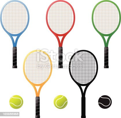 Tennis rackets, four different colors and a silhouette. Tennis balls, color version and a silhouette.