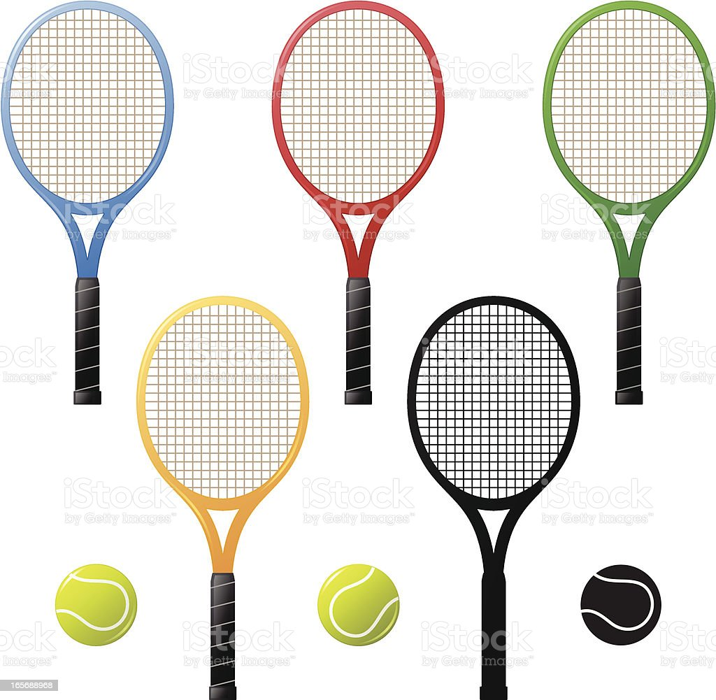 Tennis rackets and tennis-balls vector art illustration