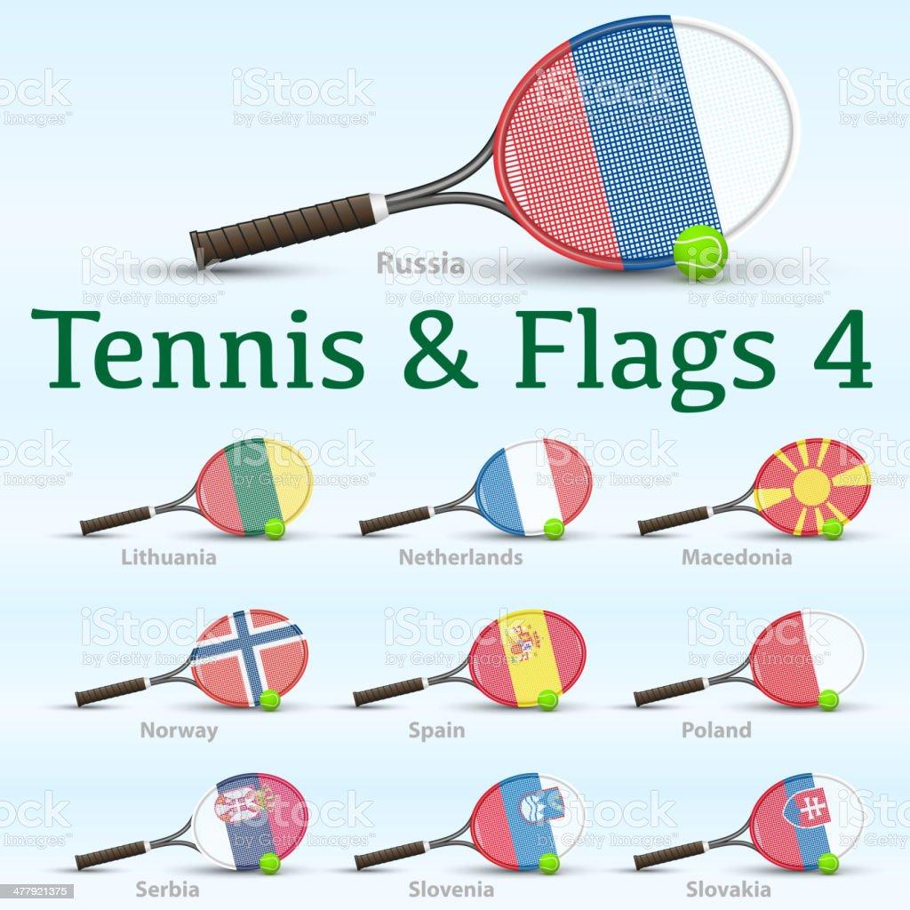 Tennis rackets & flags royalty-free stock vector art