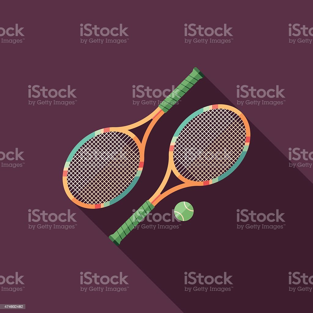 Tennis rackets flat square icon with long shadows. vector art illustration