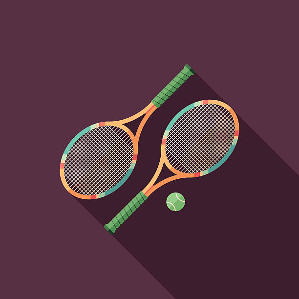 Tennis rackets flat square icon with long shadows. Sports. Colorful flat icon with long shadows. racket stock illustrations