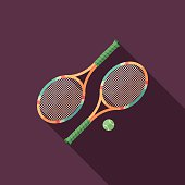 Tennis rackets flat square icon with long shadows.