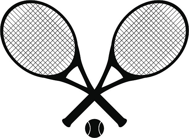 tennis rackets tennis rackets with tennis ball as black silhouette. racket stock illustrations