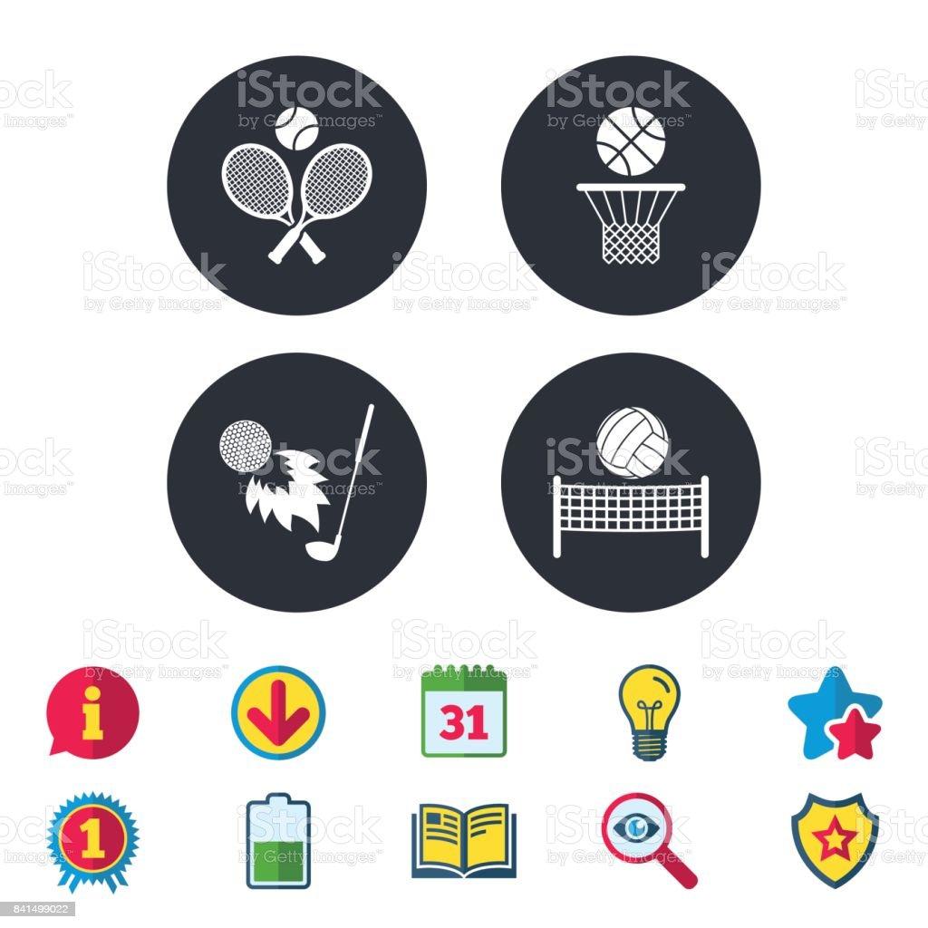 Tennis rackets with ball. Basketball basket. vector art illustration