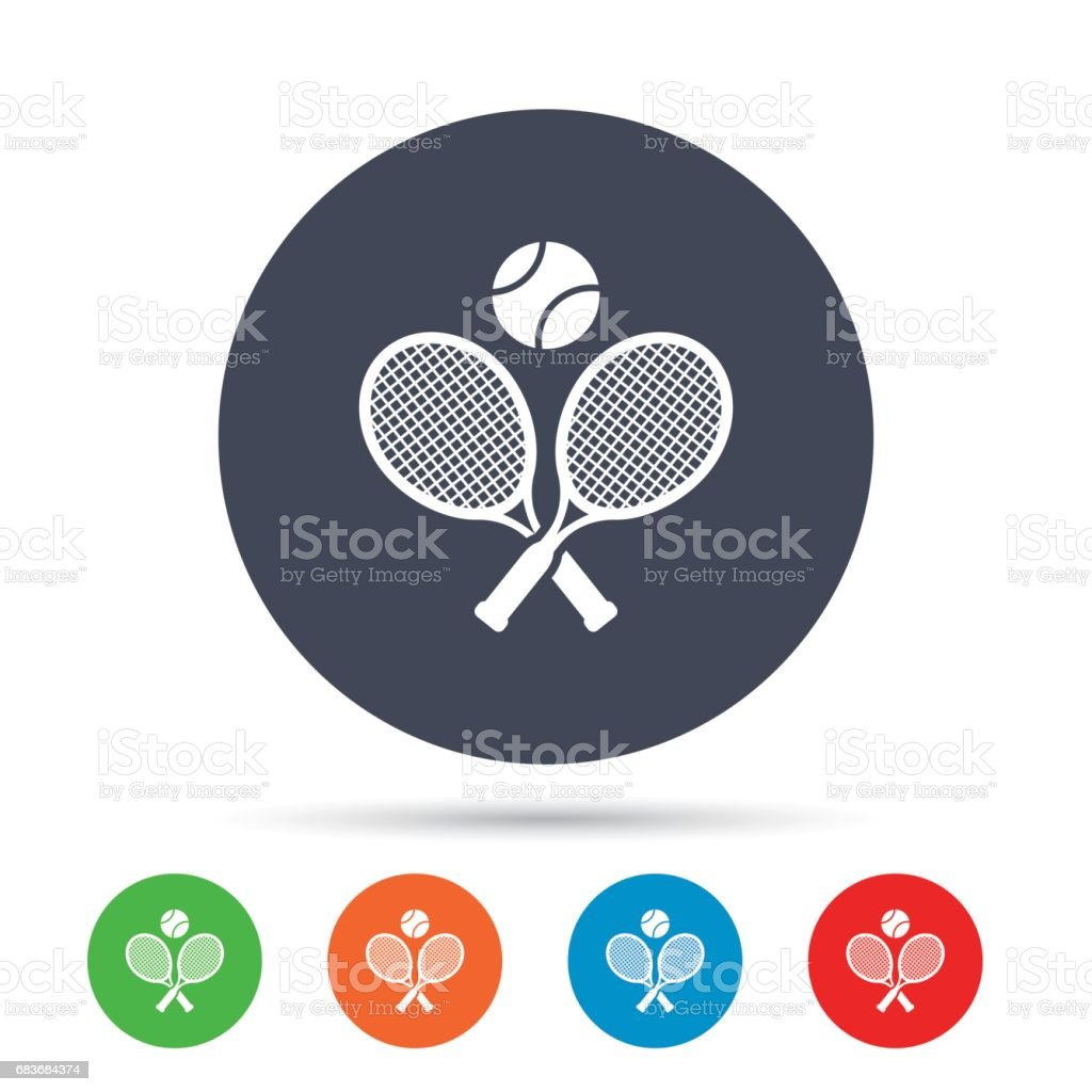 Tennis rackets with ball sign icon. Sport symbol. vector art illustration