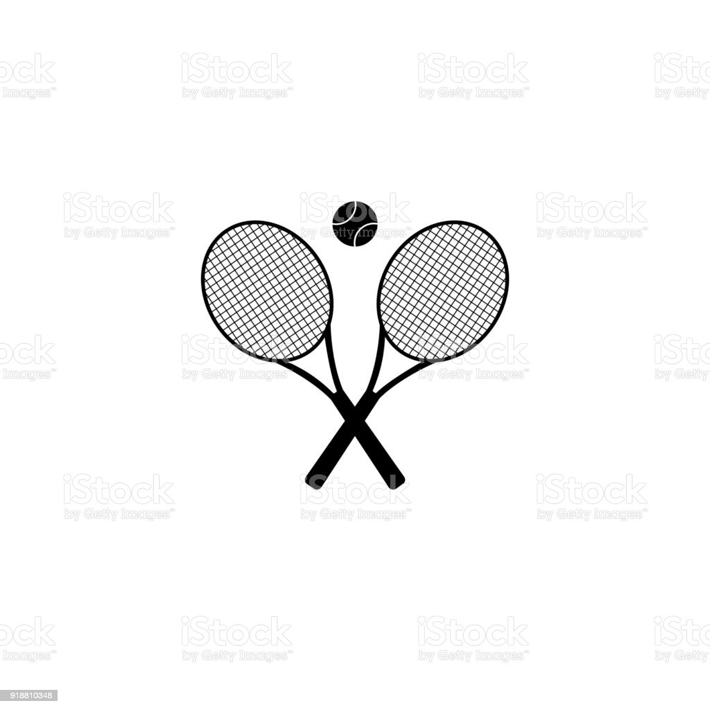 Tennis rackets with ball vector icon royalty-free tennis rackets with ball vector icon stock illustration - download image now